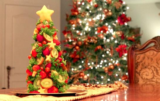 Centro de mesa Abrol de navidad con frutas