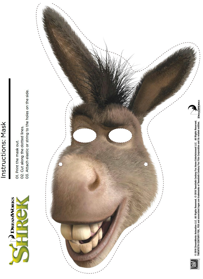 Careta Asno together with Desenho Colorir Shrek further Fox Mask Template as well Donkey Paper Bag Puppet furthermore Dinosaur Mask. on donkey mask template